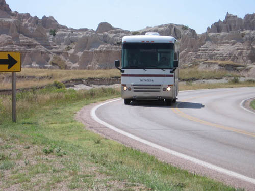 Badlands National Park, Scenic Loop, RV on road